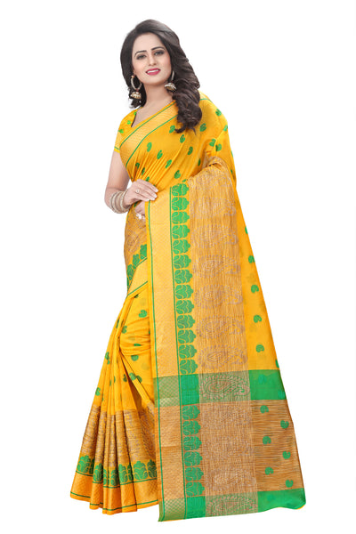 Remarkable Yellow Cotton Silk Saree