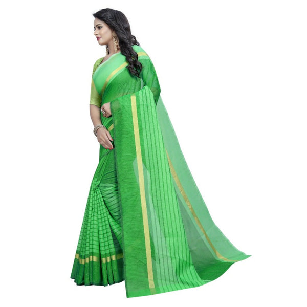 Green Colour Designer Cotton Silk Saree