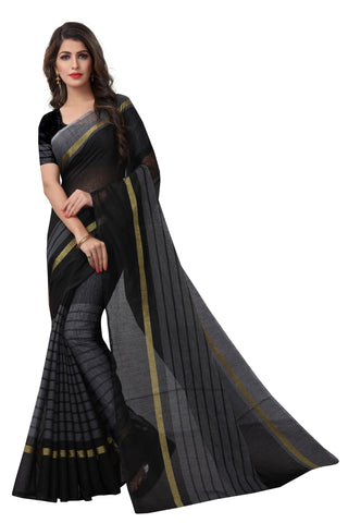 Black Colour Designer Cotton Silk Saree