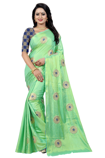 Phenomenal light Parrot Green Cotton Silk Saree