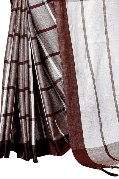 2 Tone Brown Chex Linen Designer Saree