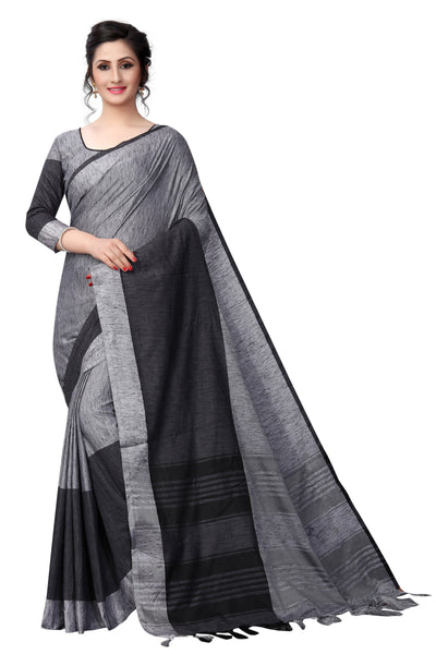 Black Mix Colour Linen Designer Saree