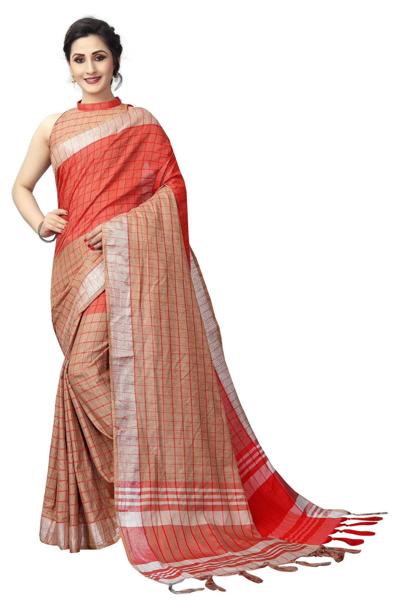 Favorable Brown Linen Designer Saree