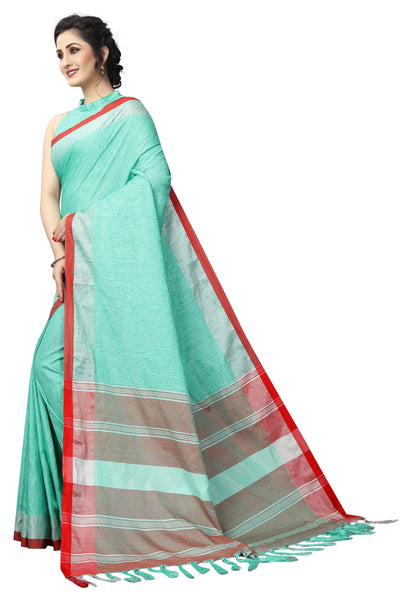 Rama Mix Matrix Linen Exclusive Designer Saree