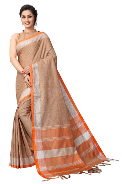 Glourious Brown Linen Designer Saree