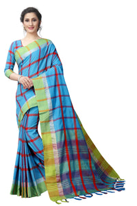 Sky Blue 2 Tone Colour Chex Linen Exclusive Designer Saree