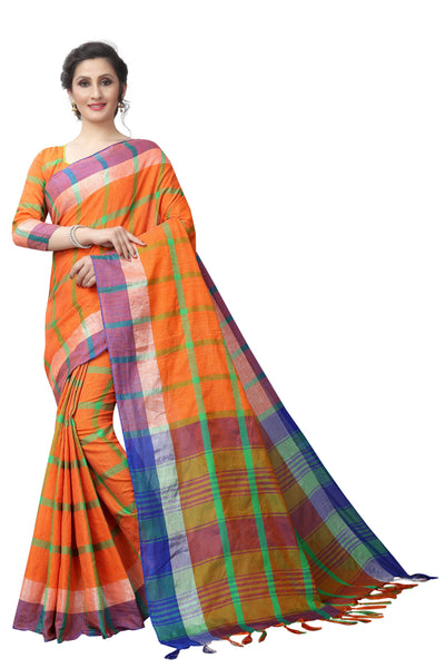Hesterine Orange Linen Exclusive Designer Saree