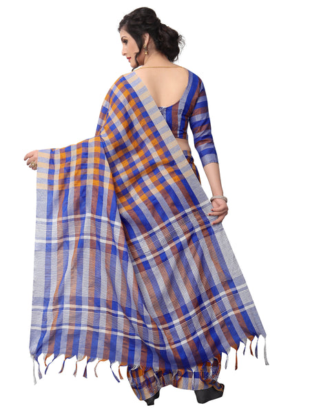 Blue And Orange 2 Tone Chex Linen Designer Saree