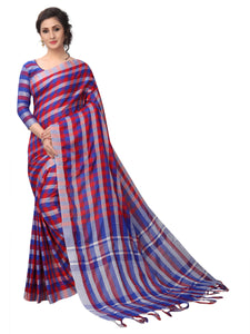 Blue And Pink Chex Linen Designer Saree