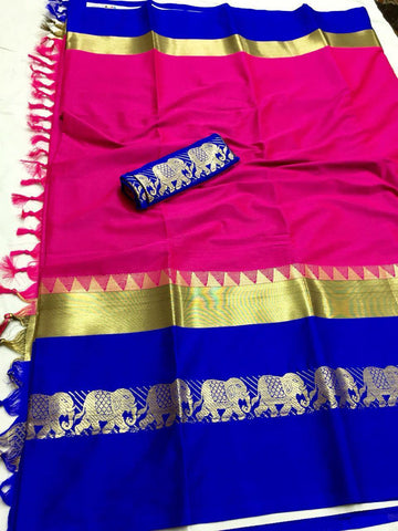Dark Pink And Blue Jacquard Design Cotton Silk Saree
