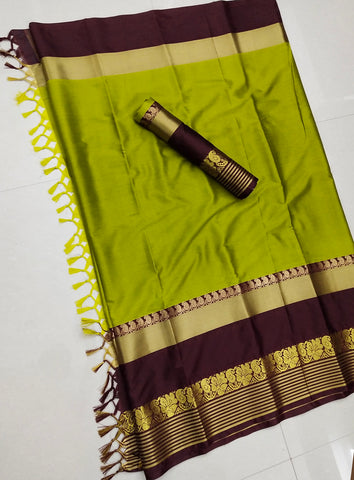 Green And Maroon Jacquard Design Cotton Silk Saree