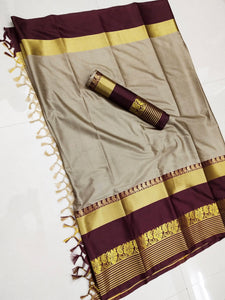 Cream And Maroon Jacquard Design Cotton Silk Saree