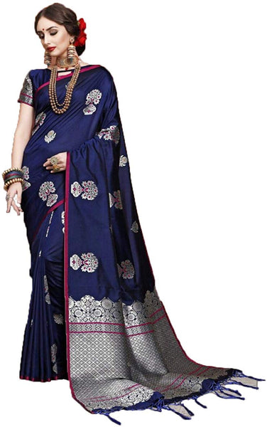 Celebrity Style Navy Blue Colour Gold Silk Saree with Rich Pallu