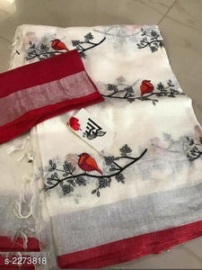 Pretty Red And White Colored Partywear Linen Designer Printed Saree