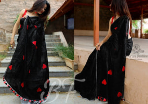 Admirable Black Color Banglori cotton Heart Pattern Saree