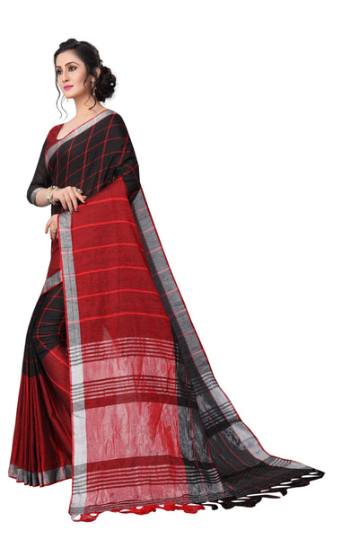 Black And Red Mix Colour Linen Designer Saree