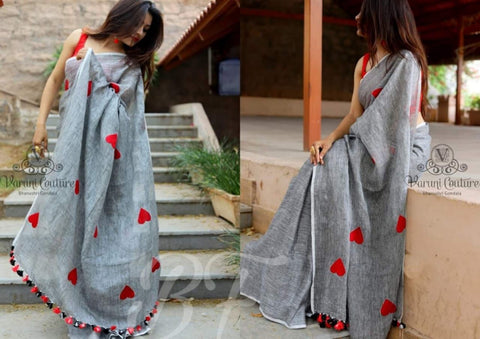 Admirable Grey Color Banglori cotton Heart Pattern Saree