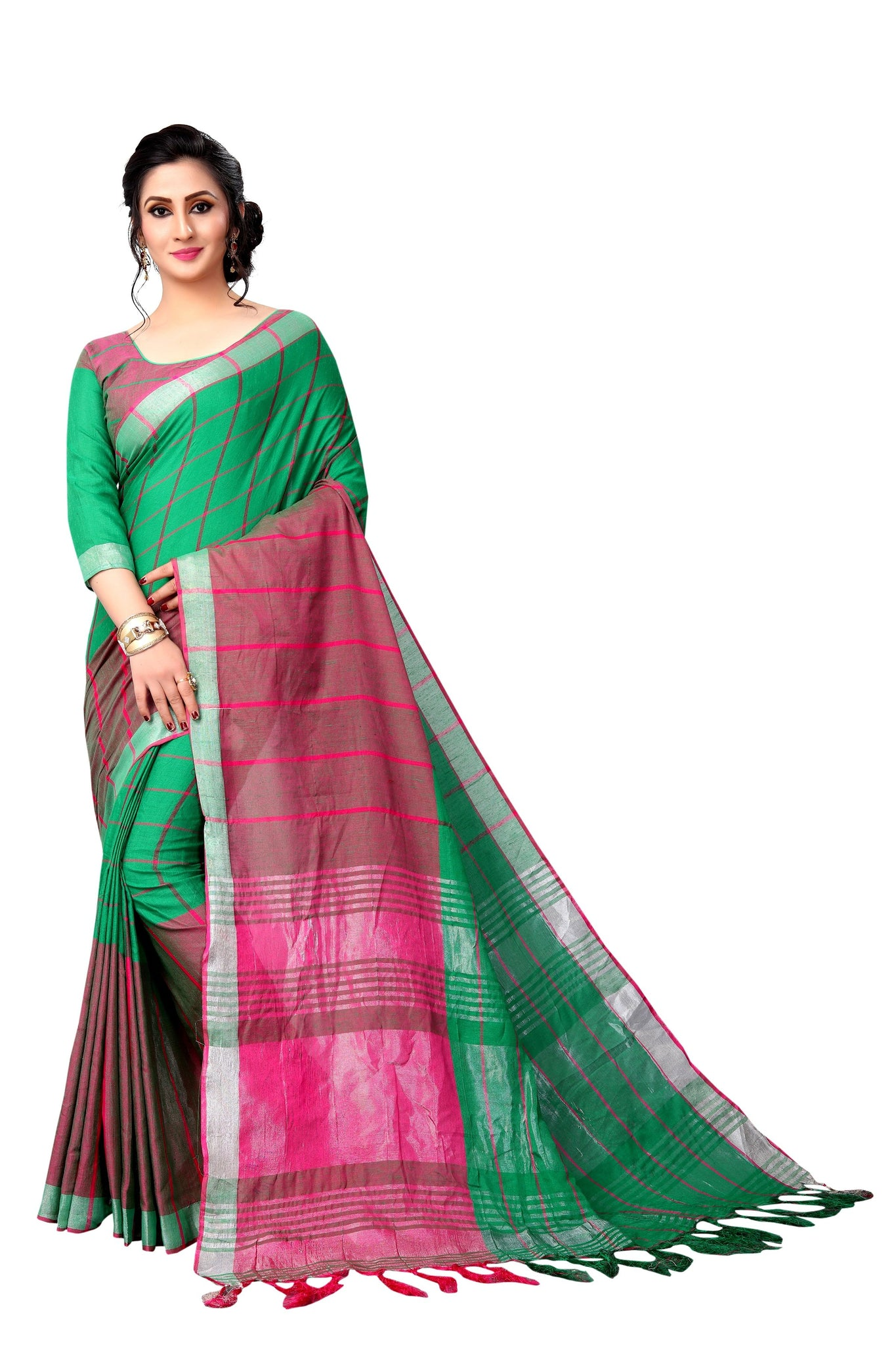 Multi Coloured Green And Pink Linen Designer Saree
