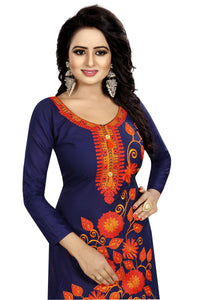 Blue Colour Heavy Embroidered Cotton Silk Salwar Suit