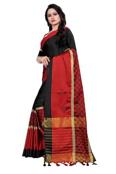Unimaginable Black And Red Cotton Silk Saree