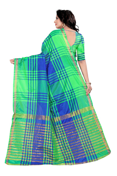 Prodigious Light Parrot Green And Blue Cotton Silk Saree