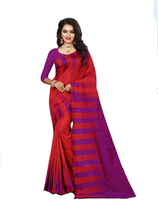 Red And Rani Pink Designer Lily Silk Saree