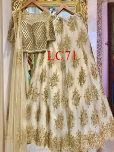 Classic Partywear White And Gold Designer lehenga Choli