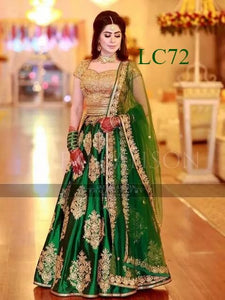 Classic Partywear Green And Gold Designer lehenga Choli
