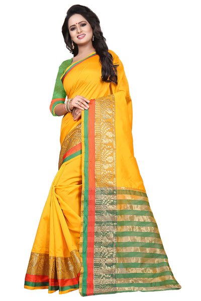 Stupendous Dark Yellow Cotton Silk Saree