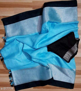 Gleaming Sky Blue And Black Colored Festive Wear Linen Saree