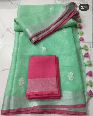Ravishing Light Green And Pink  Colored Festive Wear Linen Saree