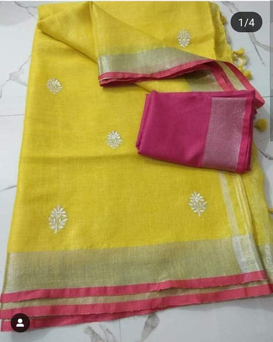 Sensational Yellow And Pink Colored Casual Wear Printed Pure Linen Saree