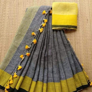Blissful Gray And Yellow Colored Festive Wear Pure Linen beautyful  Saree