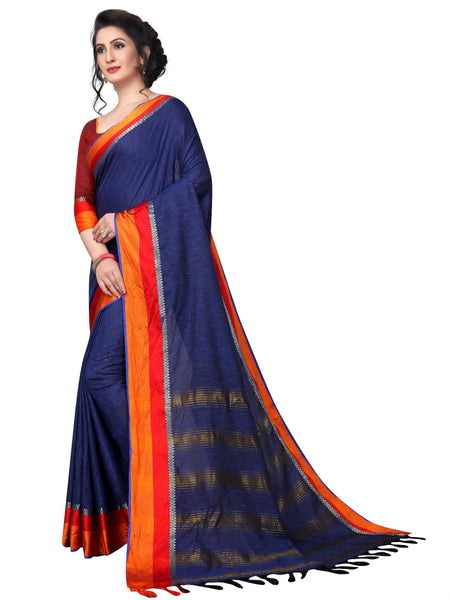 Jumpstack Navy Blue Linen Designer Saree