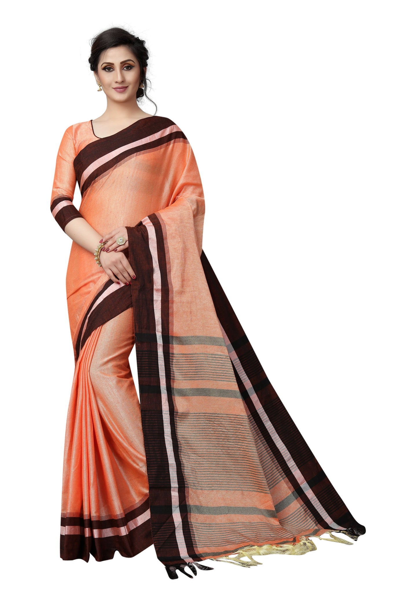Multi Coloured Orange Linen Designer Saree