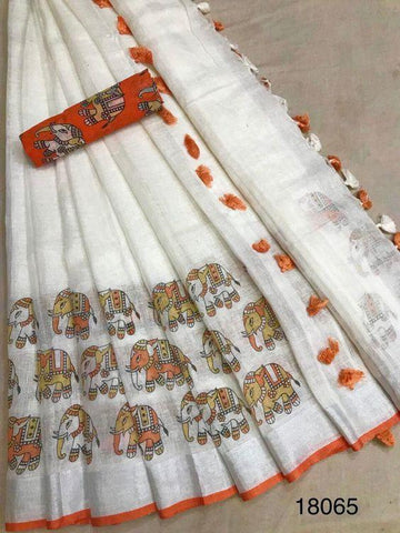 Opulent White And Orange Colored Festive Wear Linen Saree