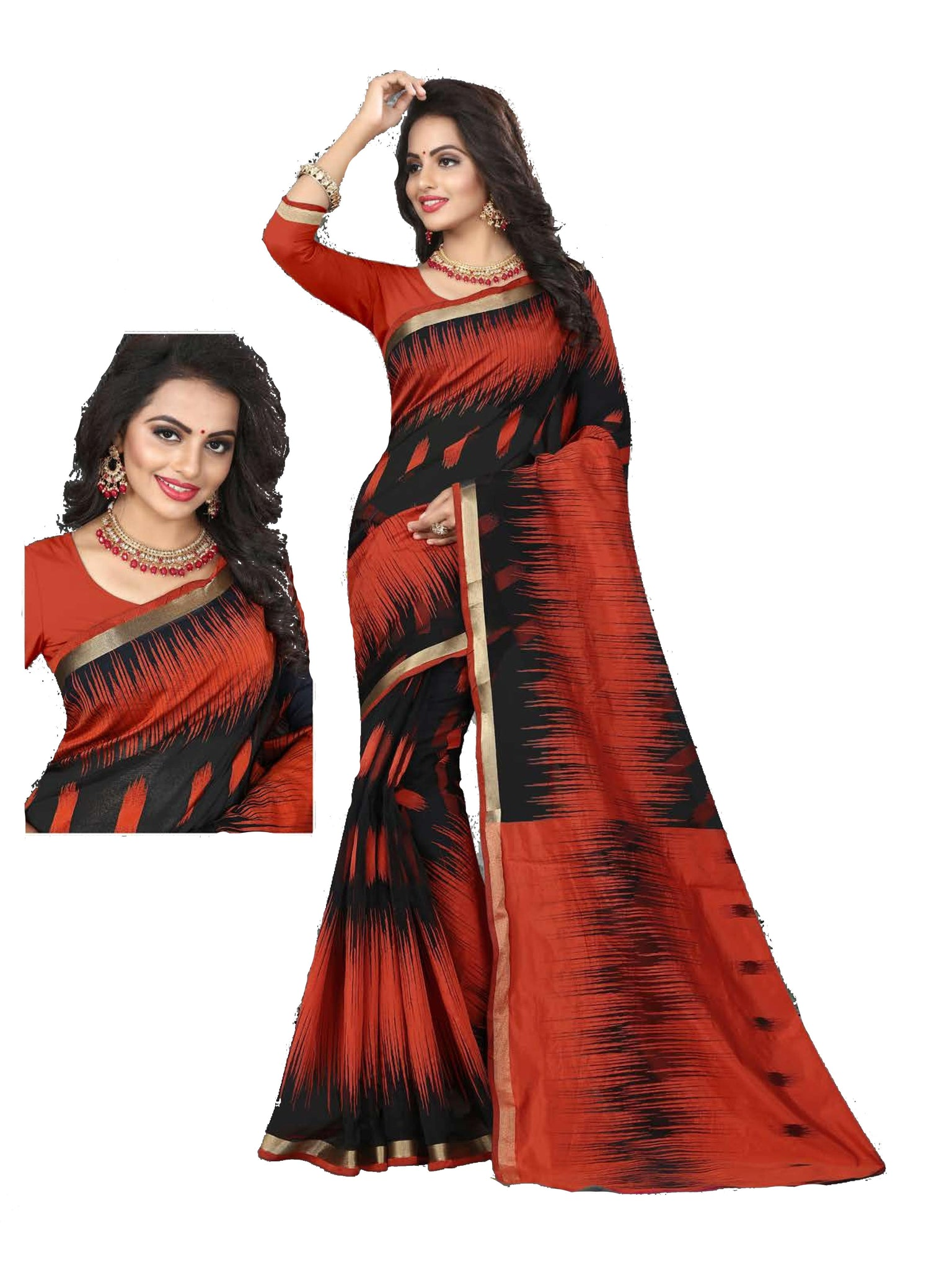 Red And Black Designer Lily Silk Saree