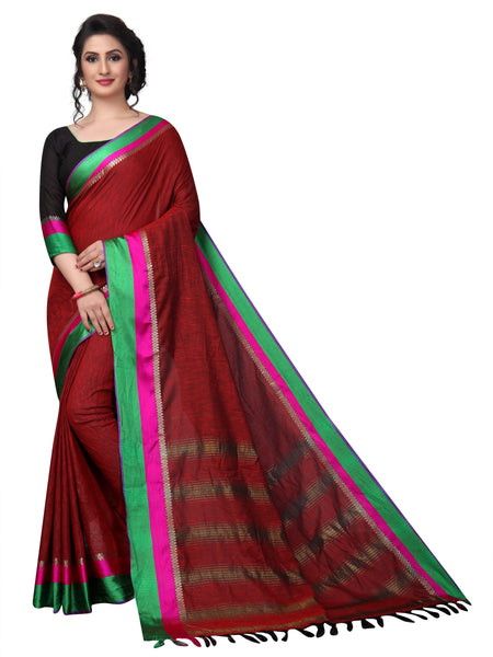 Duflex Red Two Tone Linen Designer Saree