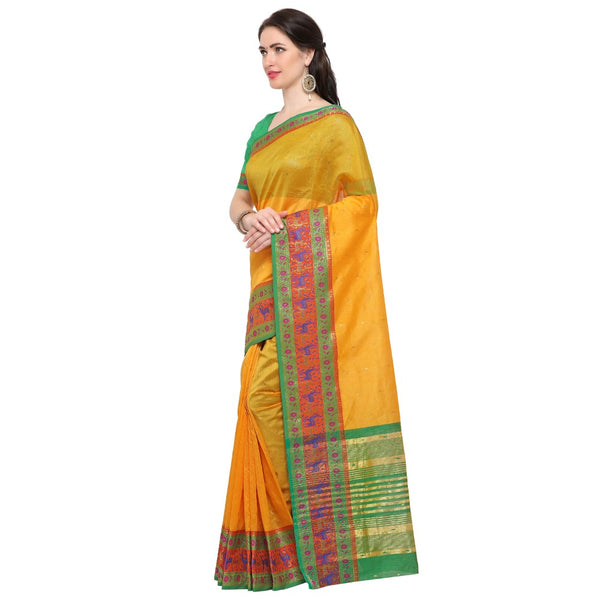 Yellow Colour Modern Style Women's  Jacquard Silk Saree with Blouse Piece