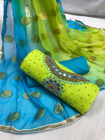 Green And Blue Embroidery Work Salwar Suit