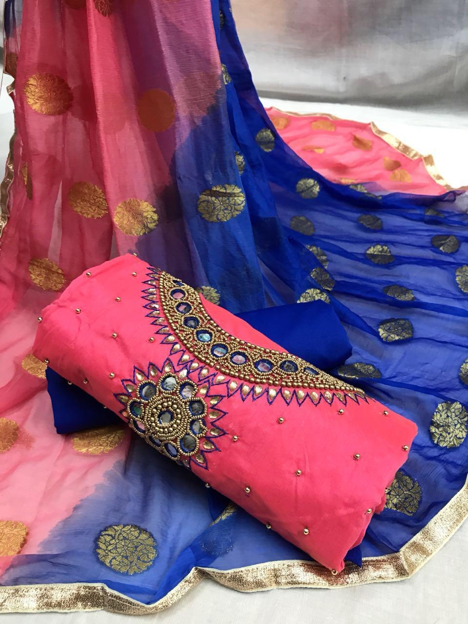 Pink and Blue Embroidery work  Salwarsuit