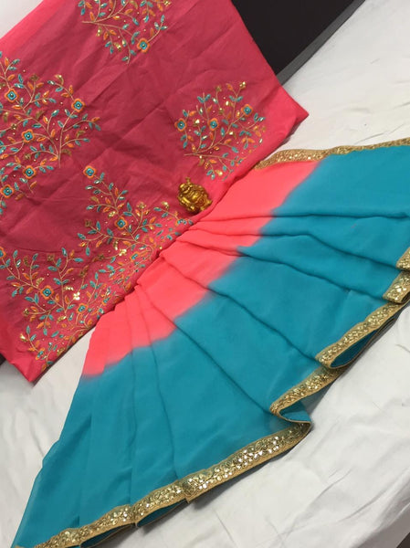 Pink And Sky Blue Heavy Georgette Chex Exclusive Designer Saree