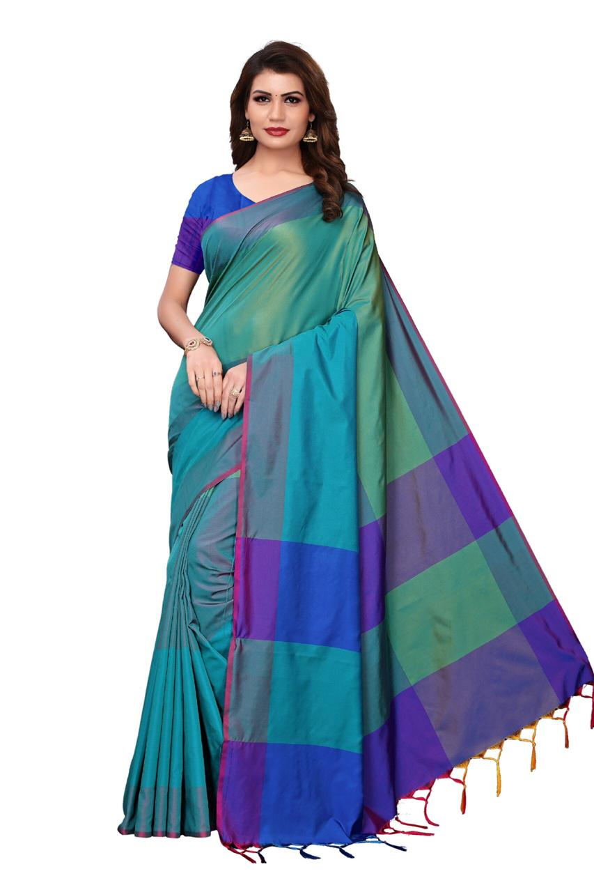 Exclusive Rama Colour New Design In Cotton Silk With Two Tone Feel