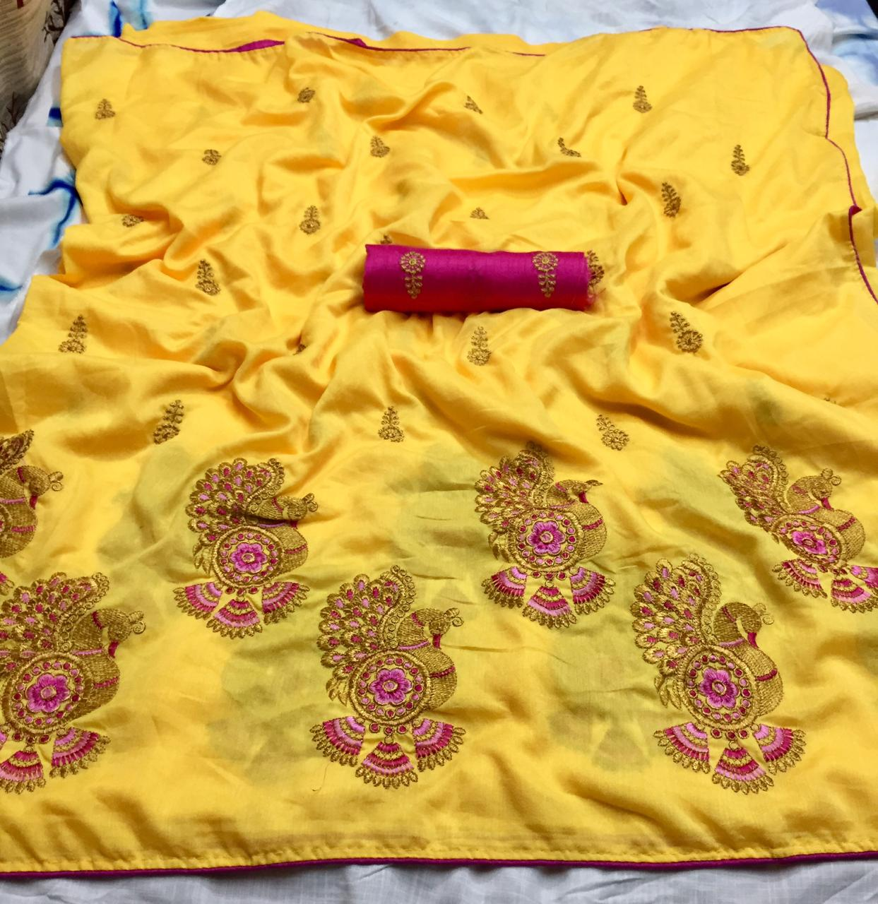 Ethnic Yellow Silk Indian Traditional Fancy Saree
