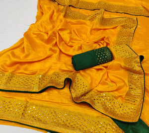 Beautiful Yellow Sana Silk Women Saree