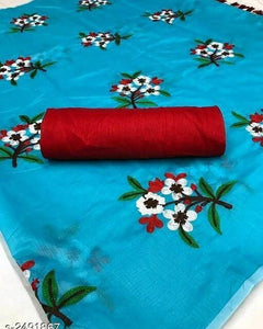 Marvellous Sky Blue Pure Banglori Cotton Designer Saree