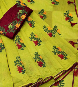 Dazzling Green And Red Color Pure Banglori Cotton Designer Saree