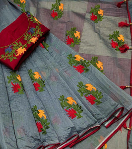 Sizzling Grey And Red Color Pure Banglori Cotton Designer Saree
