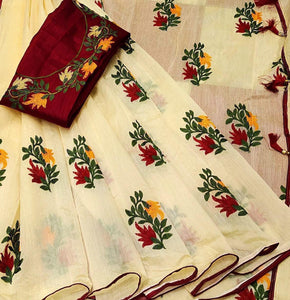 Elegant Cream And Red Color Pure Banglori Cotton Designer Saree