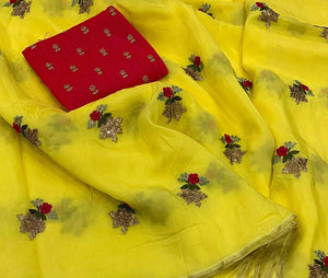 Pastel Yellow Color Pure Linen Designer Saree